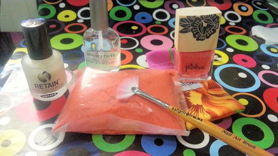 uñas de terciopelo, velvet nails, nail art, nails, terciopelo, flock, naranja, uñas fáciles, paso a paso, nailpolishlove.me blog mexicano dedicado al nail art, esmaltes pitahia, pitahia flamingo