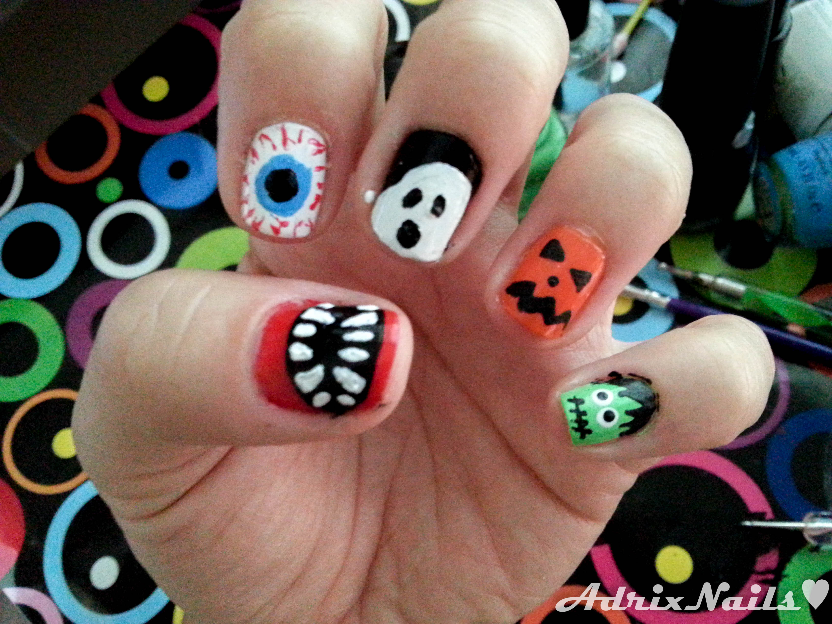 Tutorial: Uñas de Halloween ¡5 mini-tutoriales en uno! | Adrix Nails ...