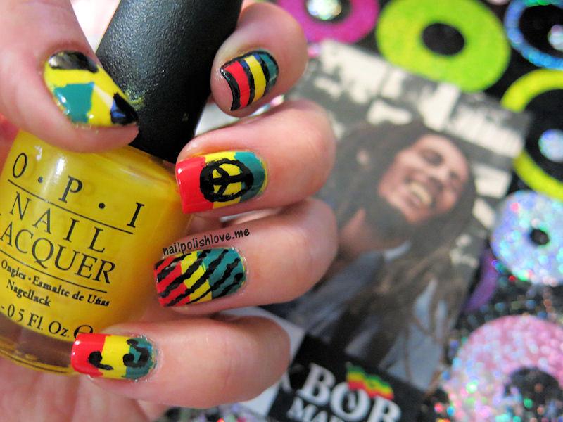 B de Bob Marley, rasta nails, reggae, nailpolishlove.me blog mexicano dedicado al nail art, uñas rasta, Bob Marley, nails, nail polish, OPI, san francisco, swatches, esmaltes, uñas, colores, azul, reto ABC,