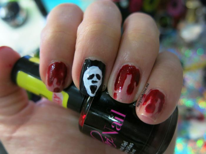 uñas, nails, nail art, halloween, diseños de halloween, uñas de halloween, diseños fáciles, paso a paso, DIY, esmaltes, nail polish, ghostbusters, los cazafantasmas, el extraño mundo de jack, el aro, the ring, the nightmare before christmas, scream, terror, películas de terror, uñas de películas de terror, horror movies nail art, nailpolishlove.me blog mexicano dedicado al nail art