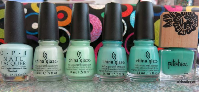 China Glaze, mint, menta, Highlight of My Summer, verde menta, neón, esmalte menta, Adrix Nails, uñas, esmaltes, nails, nail art, nail polish, trend, piel, maquillaje, nailpolishlove.me blog mexicano dedicado al nail art, esmaltes, swatches, swatch, pinturas de uñas, Pitahia, OPI, tiffany blue