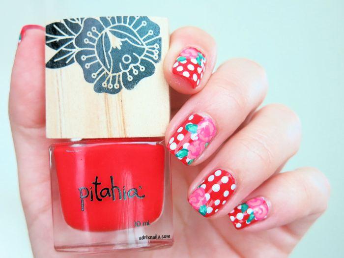Vintage Nails - Polka Dots y Rosas
