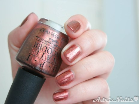 OPI, sprung, mariah carey 2013, colores de otoño, foil nails, color cobre, copper, shimmer, diy nails, uñas paso a paso, esmaltes, uñas, swatches, nails, nail art, nail polish, colores, review, adrix nails, blog mexicano dedicado al nail art, blogueras mexicanas, mexican bloggers, blogs de méxico, nailpolishlove,
