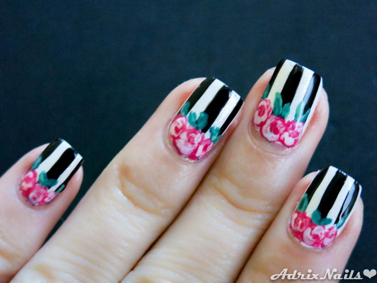 Flores Vintage Y Rayas 14 Adrix Nails Uñas Barnices