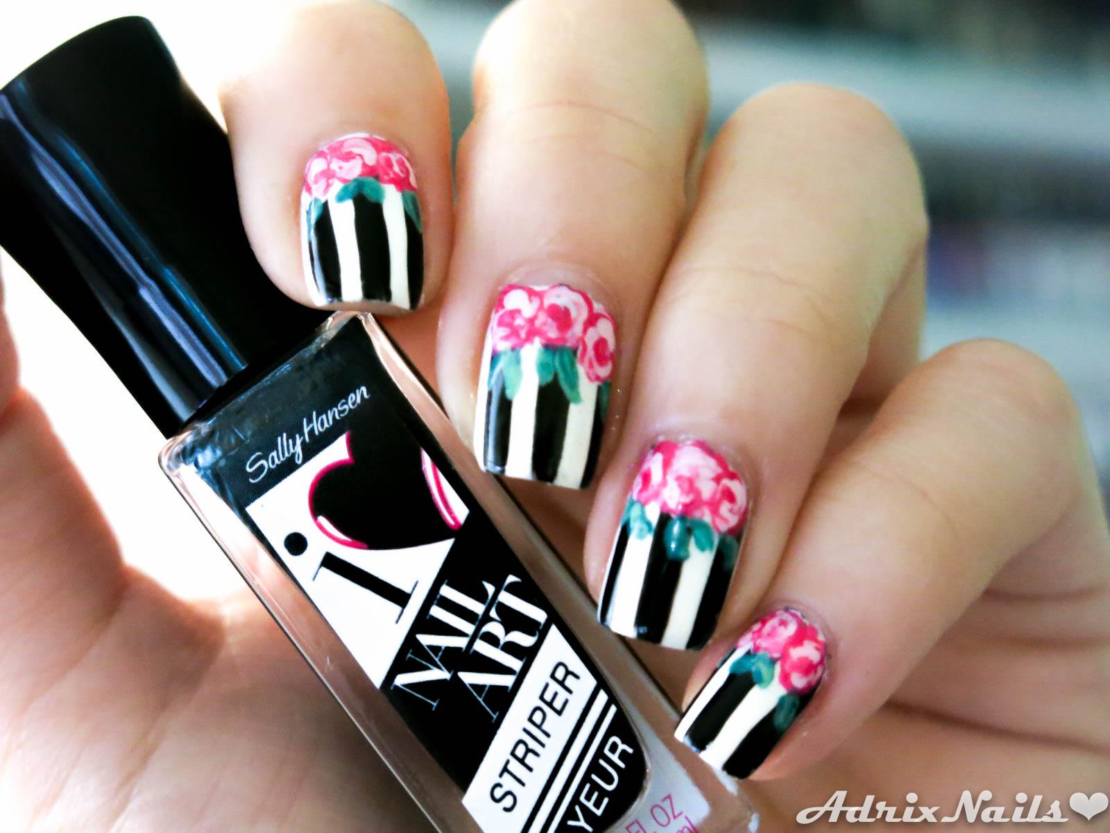 Tutorial Flores Vintage Y Rayas Adrix Nails Uñas